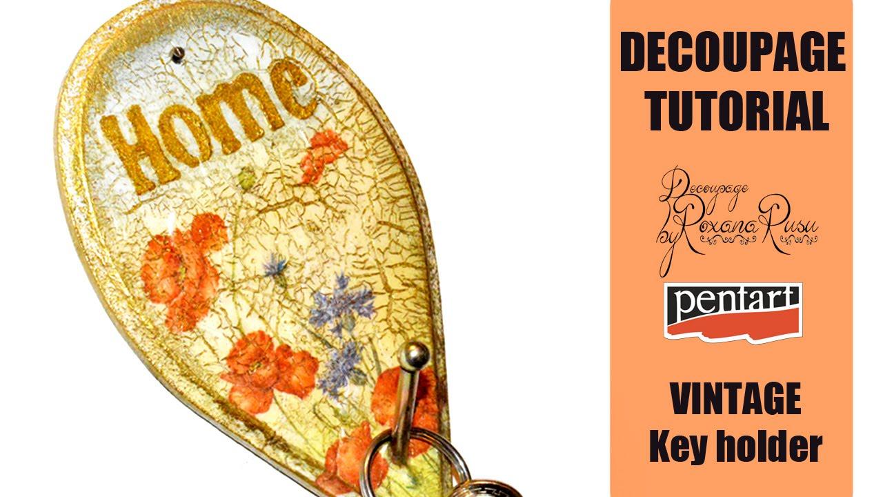 How to decoupge on MDF - DIY Vintage Key Holder - Pentart Random ...