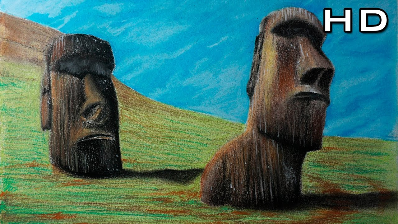 Cmo Dibujar a los Moais Paso a Paso con Lpices Pastel