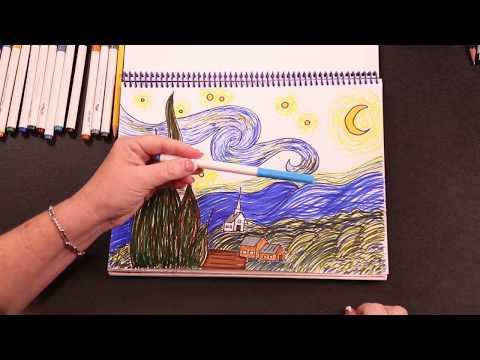 how-to-draw-van-gogh's,-starry-night.