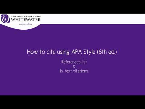 How to cite using APA style (6th ed.): References list & in text citations