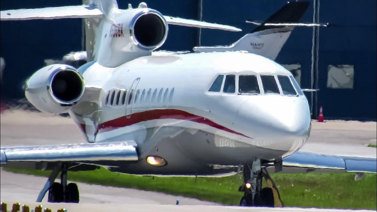 Barack Obama onboard! Private Falcon 900 (F900) departing ...