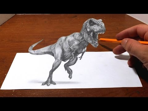 Thumbnail: Drawing a T Rex - Anamorphic Optical Illusion - 3D Trick Art
