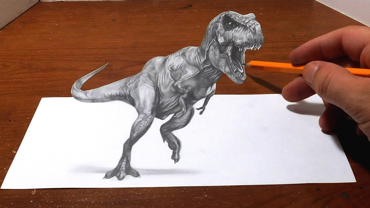 Drawing A T Rex Anamorphic Optical Illusion D Trick Art YouTube - Anamorphic art looks real