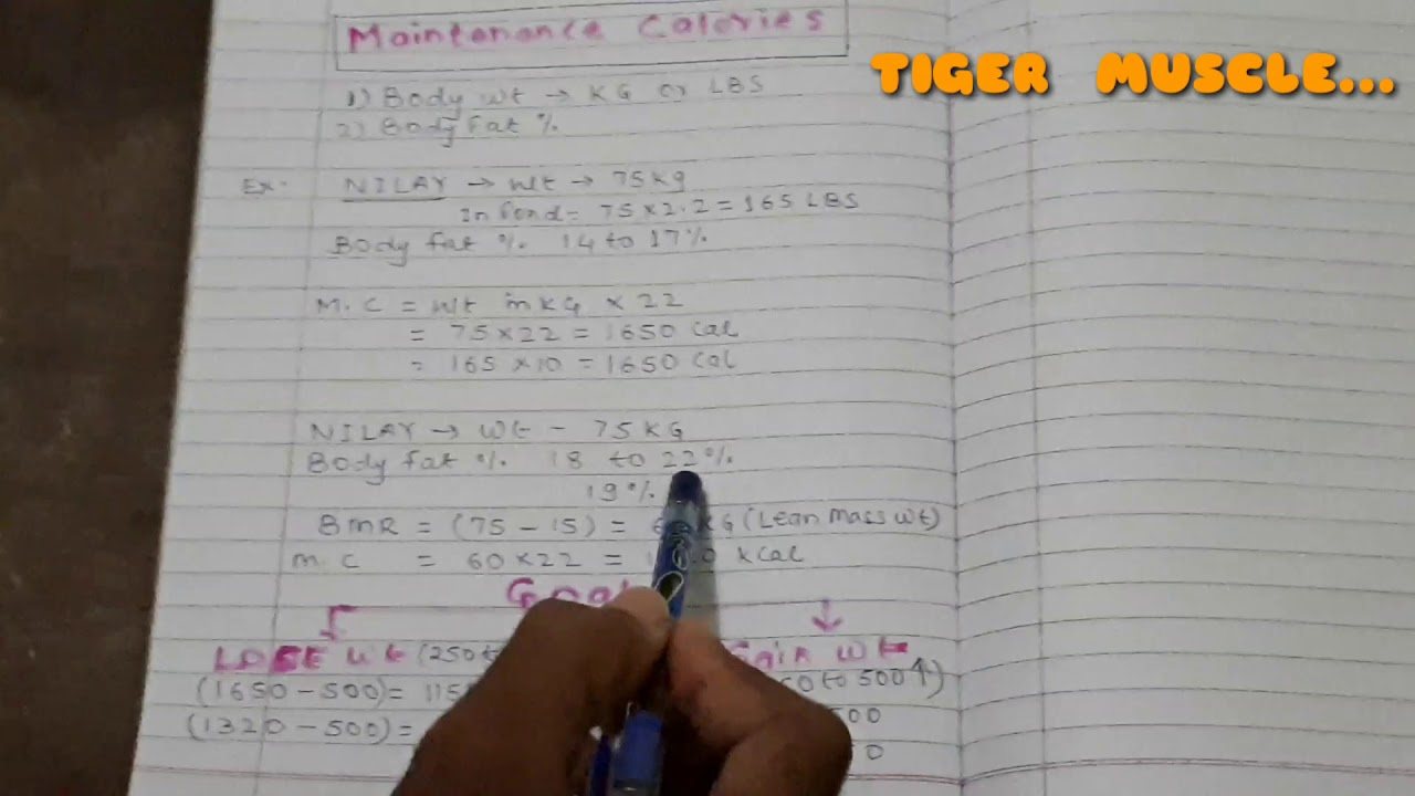 How to calculate || BMR || Maintanance Calories || Weight ...
