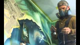Как выполнялась роспись стены(Пошаговое, видео по росписи аэрографом, первой стены такого уровня сложности. Подробно на сайте http://air-rospises.r..., 2014-04-29T17:31:06.000Z)