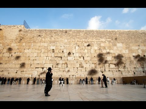 A visit to the holy place for Jews. The Western Wall (Wailing Wall), Jerusalem, Israel