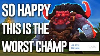 WHY IS THIS THE WORST CHAMP IN LEAGUE RIGHT NOW ? 44% WINRATE ONCE A GOD NOW USELESS ORNN GAMEPLAY
