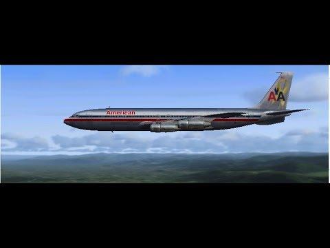 FSX - American Airways VA B707-320 pre-flight, taxi, and take-off