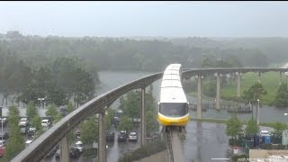 Walt Disney World Monorail with Heavy Rain on the Resort Monorail Loop 2013 June 8th