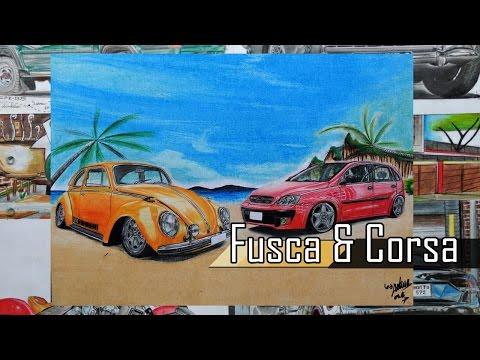 SPEED ART | Desenhando - Fusca & Corsa Pt.2