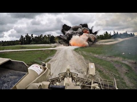 GoPro POV Tank Cam Footage Of US Military Assault Breacher Vehicle In IED/MINE Clearing Action