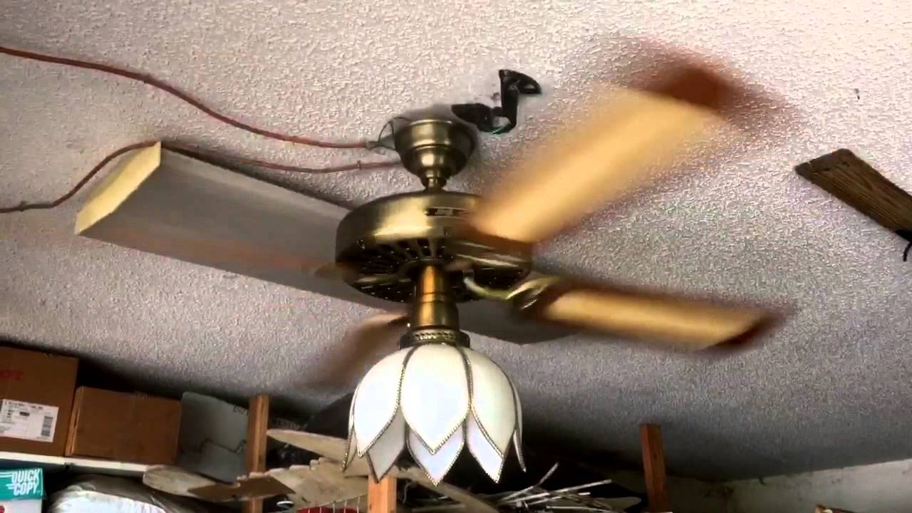 Hunter original antique br ceiling fan 1983 with cane ... on