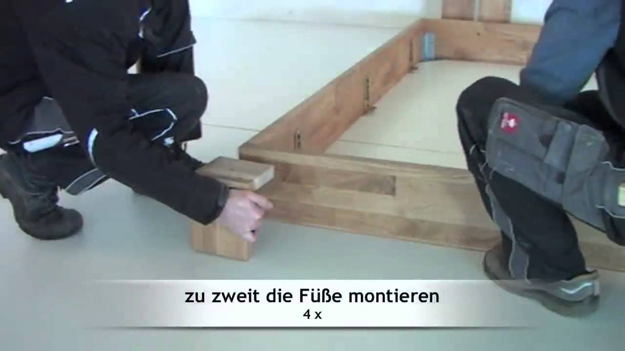 montage aufbau eines massivholzbettes wildeiche von m bel eins youtube. Black Bedroom Furniture Sets. Home Design Ideas