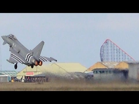 Amazing vertical take off by D-Day Eurofighter Typhoon@Blackpool Airport 21/9/14