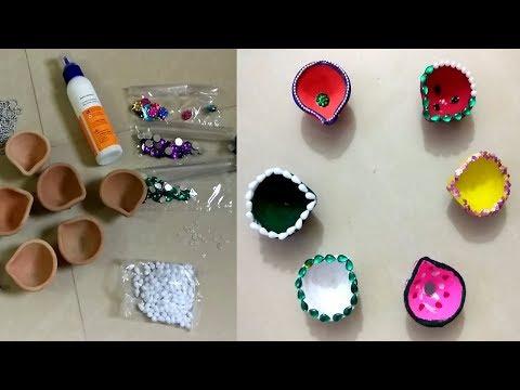 DIY-diwali diya decor easy way 2017|amzon|flipkart|snapdeal|voonik|myntra|e-bay| 2018