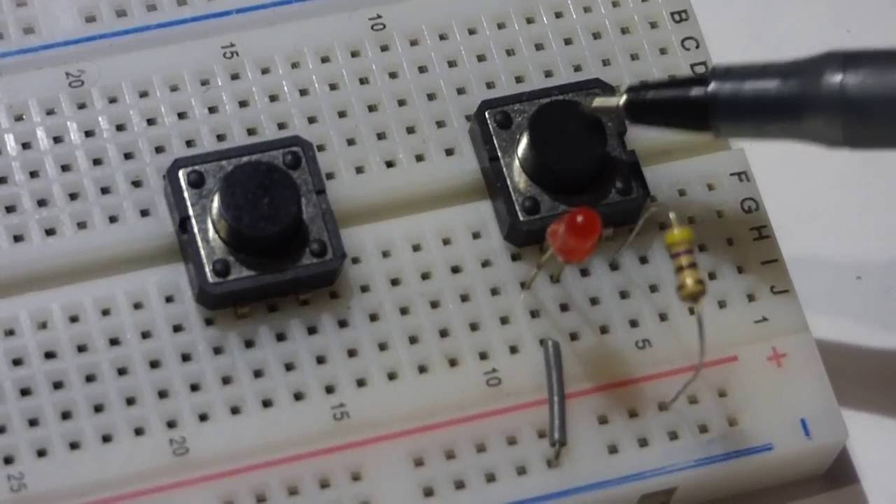 normally open tactile push button switch how to insert into breadboard and use in an led circuit youtube [ 1280 x 720 Pixel ]