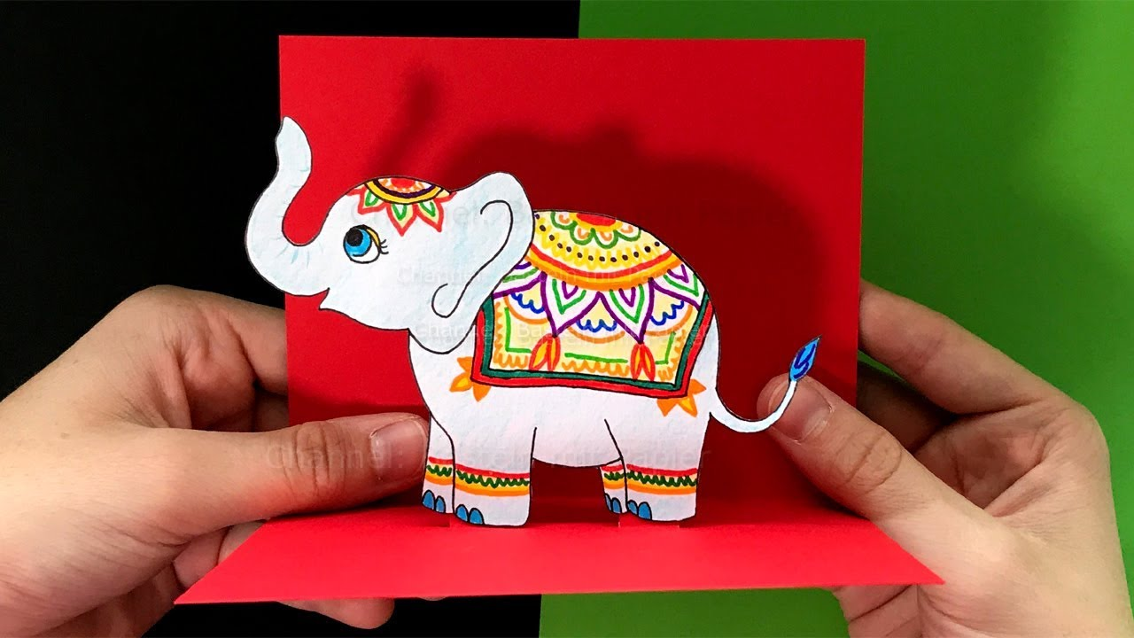 Pop Up Karten Basteln Mit Papier Elefant Diy Geschenk