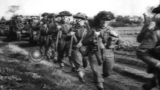 British Infantry And Tanks Push German Army Back And Free Civilians From Nazi Occ...HD Stock Footage