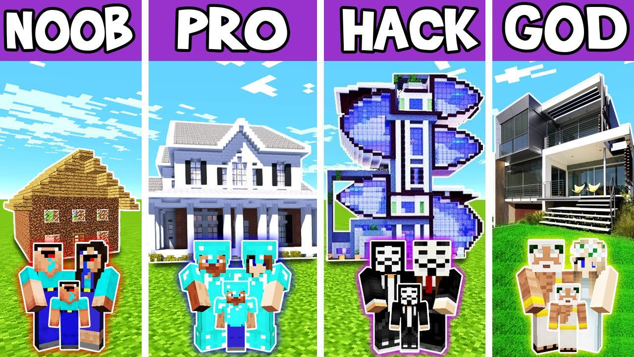 Minecraft: FAMILY HIGH TECH MANSION BUILD CHALLENGE - NOOB vs PRO vs HACKER vs GOD in Minecraft