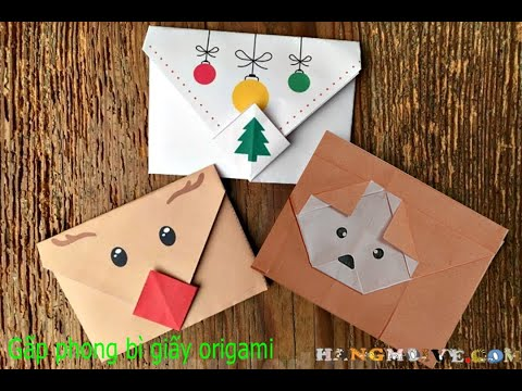 Cách gấp, xếp phong bì hình con chó cún dễ thương bằng giấy A4 - Origami Fold