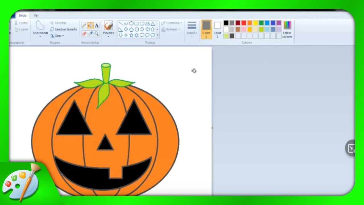 Dibujos para niños: Cómo dibujar una Calabaza de Halloween con Paint ...
