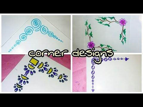 Easy and Best Corner Designs for school Work    Project Work Corners     Corners designs for Charts