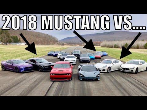 2018 MUSTANG GT EATS 800HP HELLCAT / PORSCHE PANAMERA / INFINITY Q50 in AIRPORT RACE!