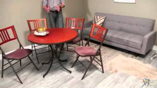 Innobella Destiny 38 In. Round Wood Folding Table - Mission Rosso - Product Review Video
