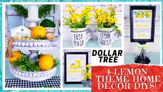 4 DOLLAR TREE HOME DECOR DIY CRAFTS | Lemon Farmhouse 2 Tier Bead Tray | Spring Floral Mugs | Signs