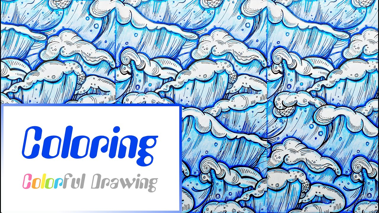 Speed coloring coloriage motif vagues mer youtube - Vague coloriage ...