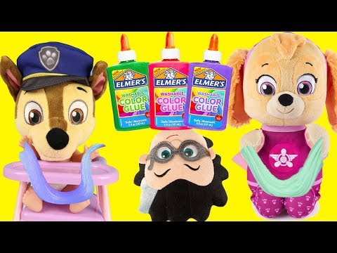 3 Colors of Glue Slime Challenge with Paw Patrol and PJ Masks Romeo