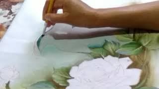 Pintando a Jarra com Rosas – Parte 2 – Pintura em tecido