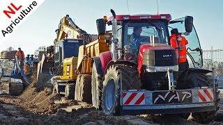 Drainage aanleggen - Caterpillar + Case IH Puma 230 - NAP & Henk van Tongeren - Ede - 2019.