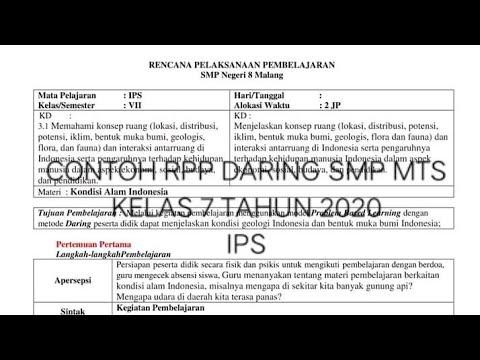 Rpp Daring Kelas 7 Smp Mts Ips Kurikulum 2013 Tahun 2020 Youtube