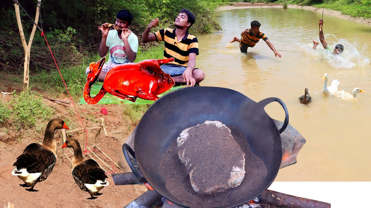 Primitive Technology:Find Duck & Cooking in River With Waterwheel Eating Delicious HUNTER COOKING