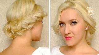 curly updo for medium long hair tutorial with headband hairstyle for everyday party prom wedding