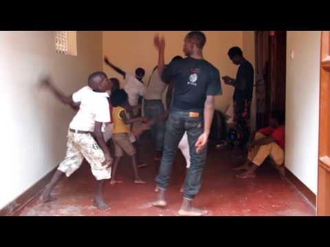 Dance lesson by Wasswa (first time for the kids)
