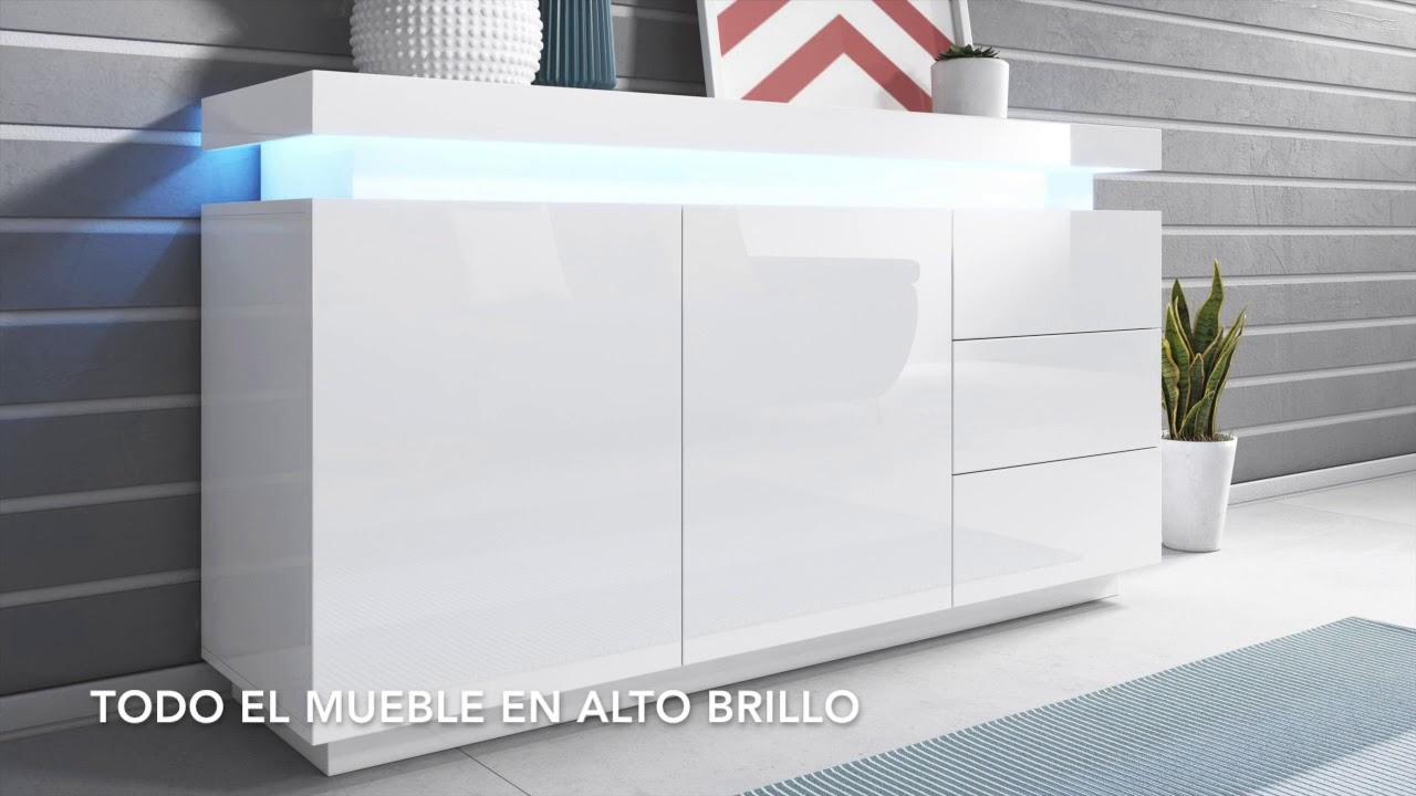 Aparador modelo Osim color blanco - Todo el mueble en alto brillo ...