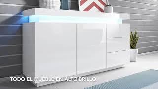 Aparador modelo Osim color blanco - Todo el mueble en alto brillo