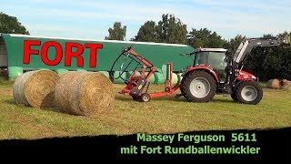 So gut wickelt ein Fort F 7500 Rundballenwickler work Massey Ferguson 5600