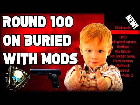 Black Ops 2 Zombies Giving Cute Little Kid A Mod Menu! (ROUND 100 ON BURIED WITH MODS!)