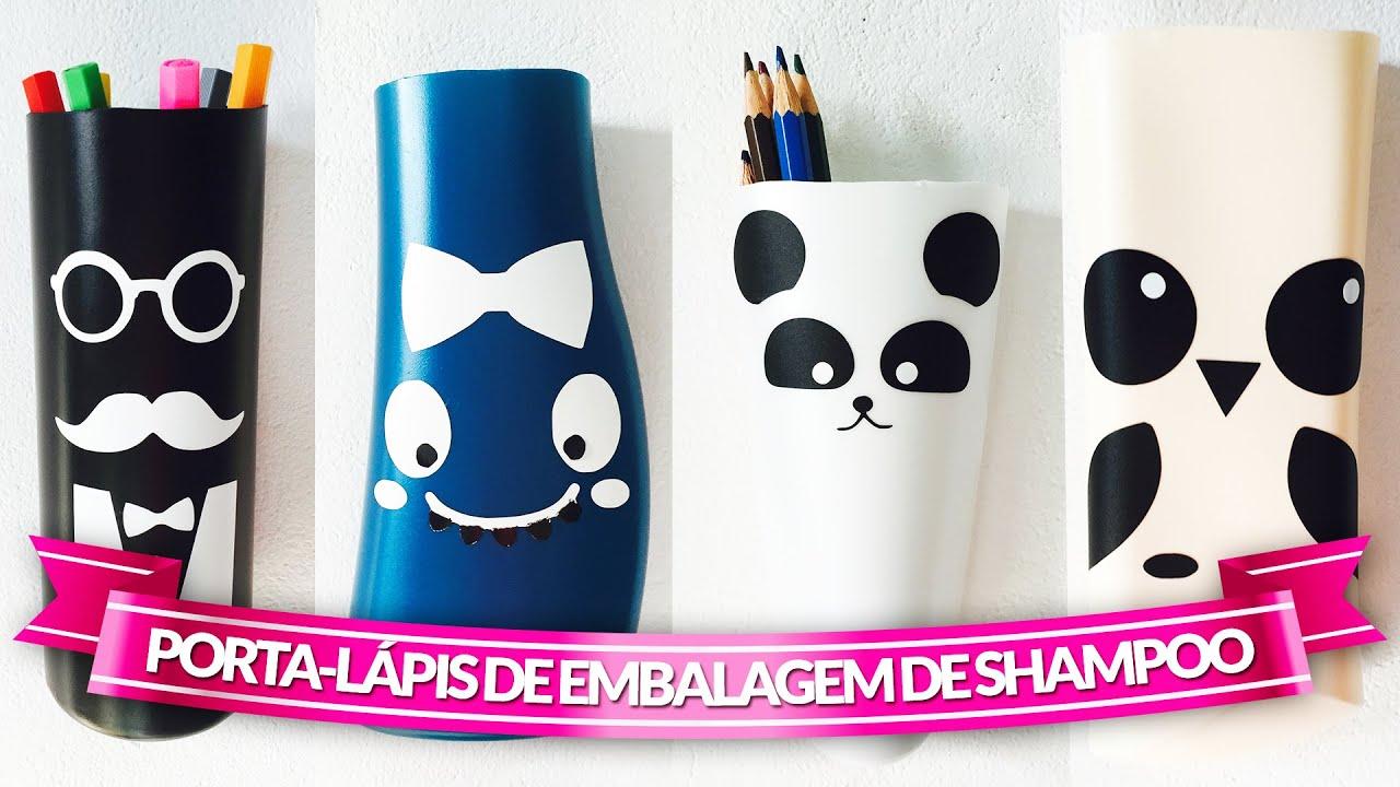 Reciclar Embalagem De Shampoo Porta Lápis
