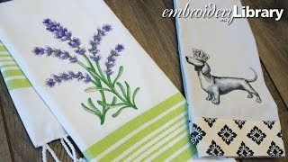 Embroidering on Tea Towels