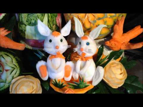 Fruit vegetable carving display and demonstration for
