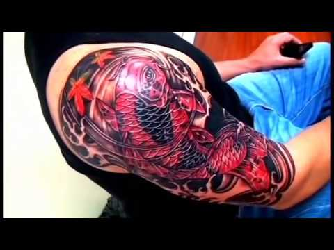 Half Sleeve Cover Up Red Koifish And Blue Lotus Youtube
