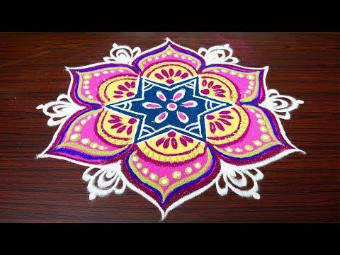 Beautiful color rangoli designs with 7x4 dots||simple kolam designs for pongal||latest muggulu
