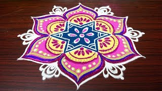 Beautiful color rangoli designs with 7x4 dots||simple kolam designs for pongal||latest muggulu