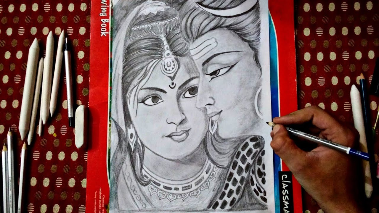 How To Draw Pencil Sketch Of Lord Shiv And Parvati Drawing