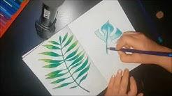 Gespaltenes Philodendron Palmenblatt zeichnen | Drawing philodendron split leaf