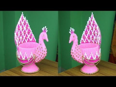 diy-peacock-design-showpiece---woolen-showpiece-making-idea---woolen-art-and-craft--best-reuse-ideas